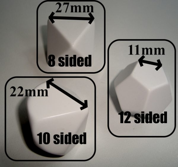 Dice - Blank Polyhedral (d8, d10, d12)