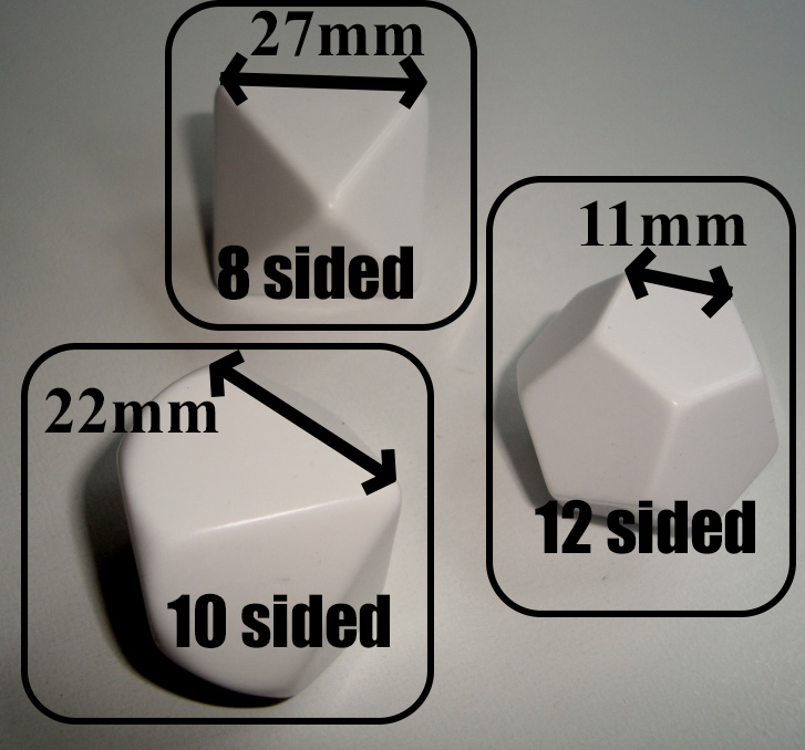 dice blank polyhedral d8 d10 d12 print play games